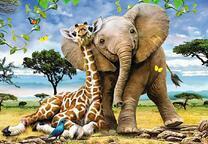 Слон с жирафом