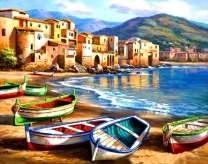 Лодки на берегу бухты