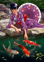 Девушка с золотыми рыбками